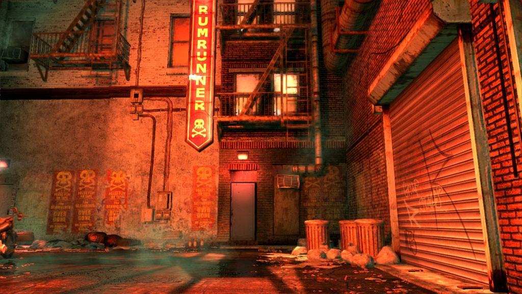 Wacthmen.The Rumrunner backalley. Development screenshot from Editor.