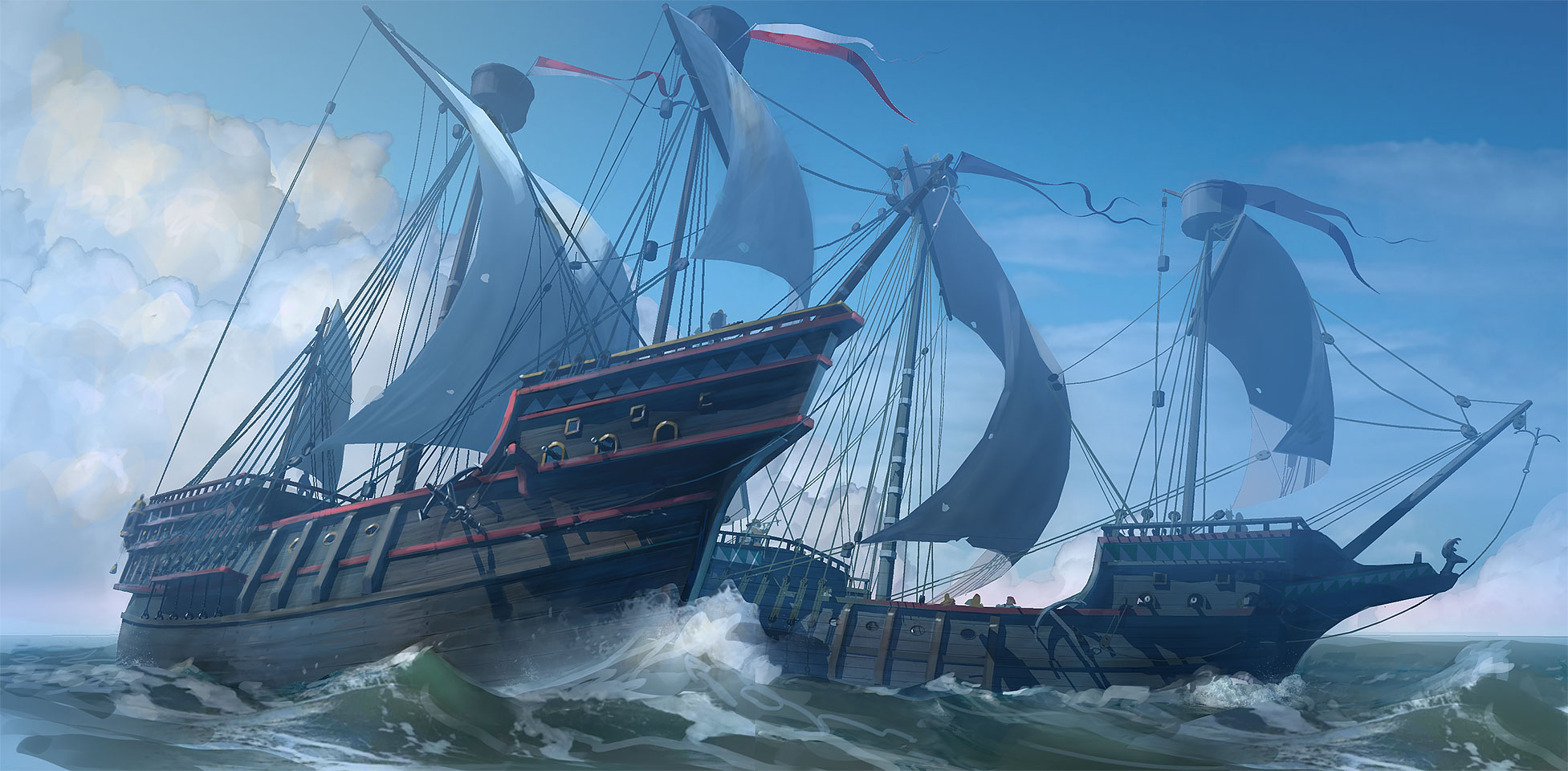 galleons - golden hind 1577. Photoshop painting. Carsten Brandt