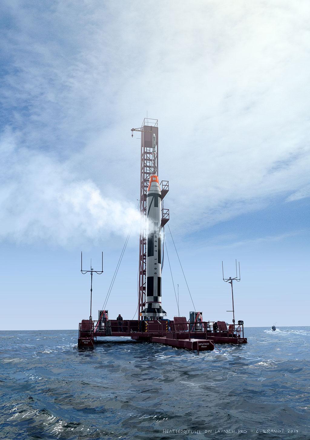 Copenhagen Suborbitals - TDSII/HEAT1600 on the launch platform Sputnik. Photoshop painting. Carsten Brandt 2013