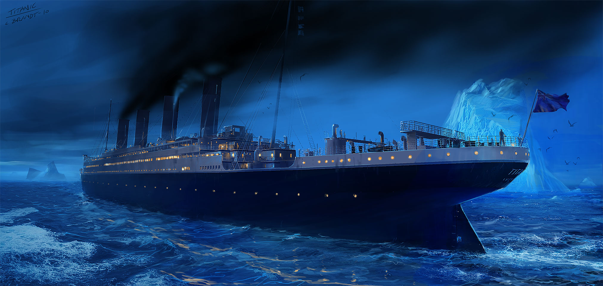Titanic - Iceberg right ahead! - Concept painting, Photoshop.